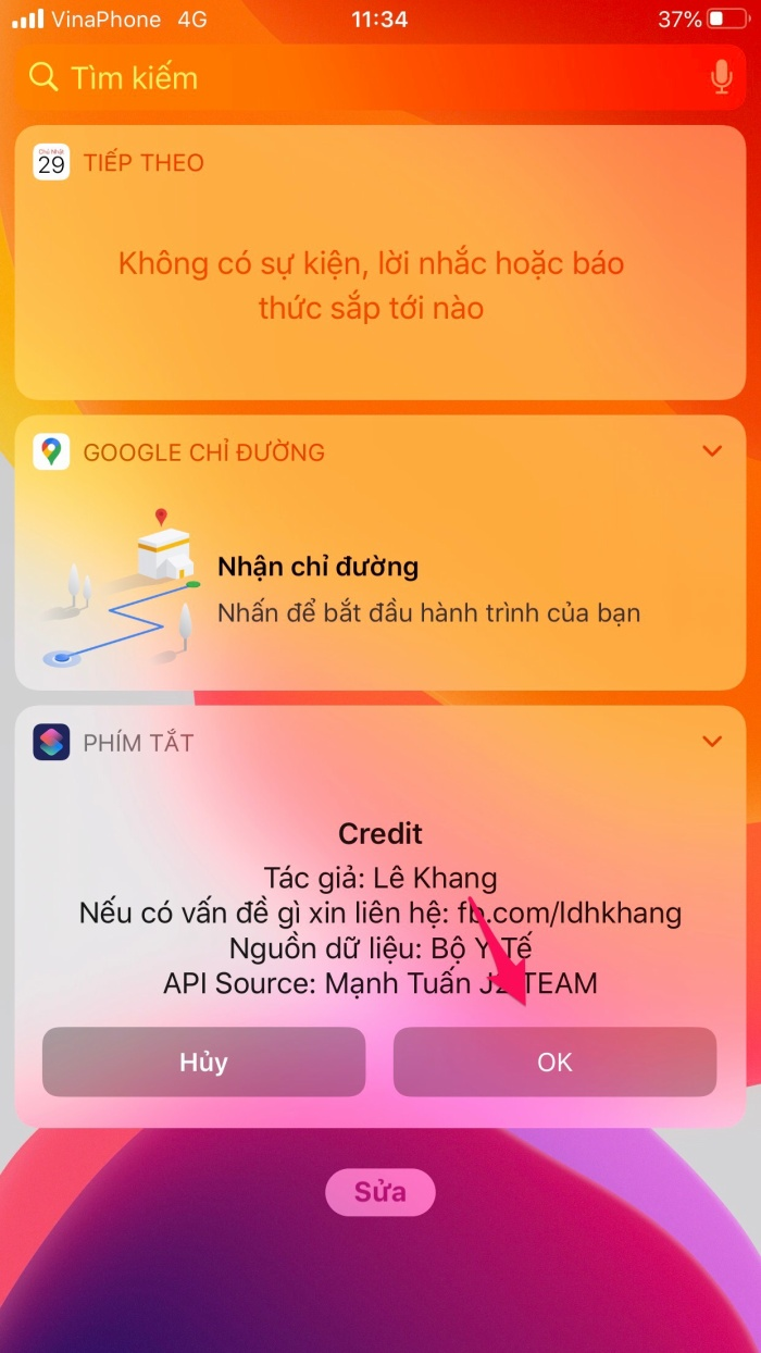 """Sau khi đã thêm """"Phím Tắt"""" vào Today View, bạn có thể thấy shortcut kiểm tra nhanh tình hình dịch bệnh Covid-19. Chỉ cầnấn vào phím tắt này, bạn đã có cập nhật những thông tin về tình hình dịch bệnh như số ca nhiễm, số ca tử vong mới ở Việt Nam cũng như toàn thế giới."""