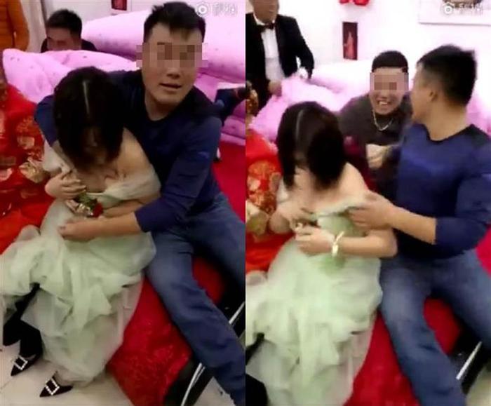 Hình ảnh xấu xí về hủ tục náo hôn ở Trung Quốc: Chú rể hôn phù dâu, phù rể sàm sỡ phù dâu ảnh 0