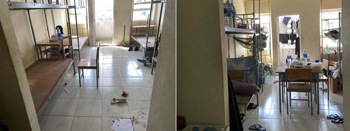 Khi mới vào phòng KTX - cũng là nơi cách ly, căn phòng vẫn còn nhiều đồ đạc bừa bộn.