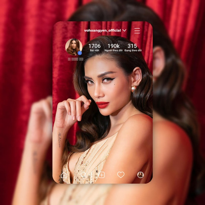 Á hậu 1 - Hoa hậu Hoàn vũ Việt Nam 2008 - Võ Hoàng Yến có hơn 190.000 người theo dõi.