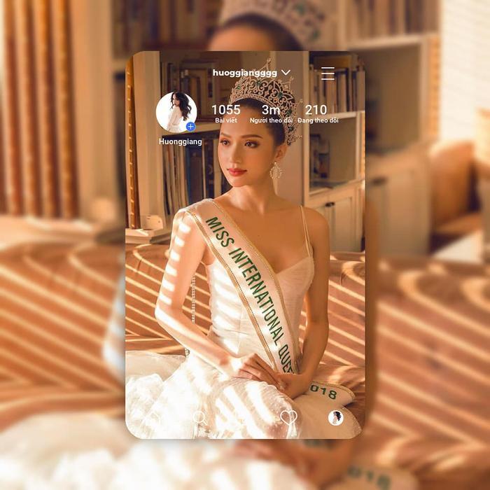 Hoa hậu Chuyển giới Quốc tế 2018 - Hương Giang là nàng hậu Việt dẫn đầu về lượng follow trên mạng xã hội: 3 triệu follow.