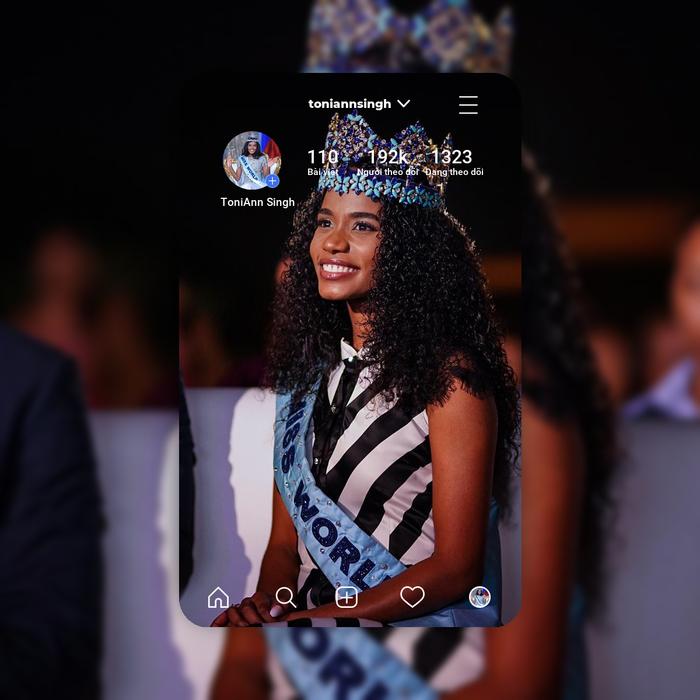 Người đẹp Jamaica - Toni-Ann Singh giành vương miện Miss World 2019có gần 200 nghìn người theo dõi.