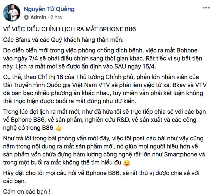Thông báo hoãn ra mắt Bphone B86 của CEO BKAV Nguyễn Tử Quảng.