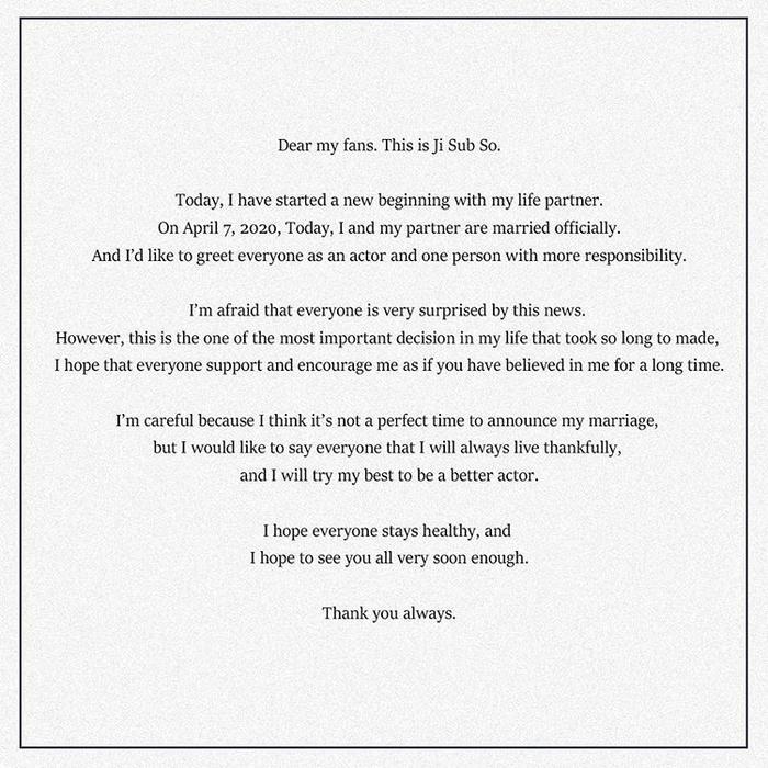 Tâm thư của So Ji Sub gửi fan.