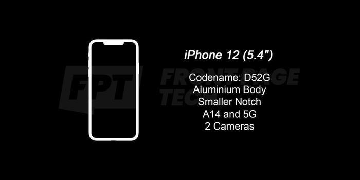 """iPhone 12 (5.4 inch) sẽ có 2 camera, khung viền bằng nhôm, """"tai thỏ"""" được thu nhỏ, chipset A14 hỗ trợ 5G.(Ảnh:Front Page Tech)"""