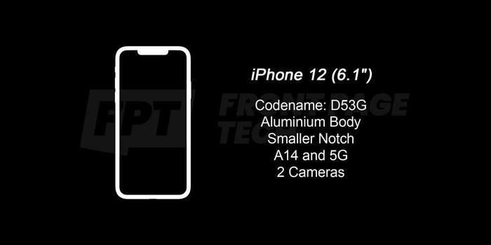 """iPhone 12 Plus (6.1 inch) sẽ có 2 camera, khung viền bằng nhôm, """"tai thỏ"""" được thu nhỏ, chipset A14 hỗ trợ 5G.(Ảnh:Front Page Tech)"""