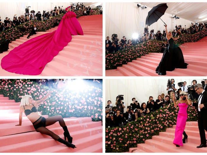 Tại Met Gala 2019, Gaga 'chặt đẹp' hội chị em với 4 trang phục khác nhau trong một buổi tối. Cô bắt đầu với một chiếc váy màu hồng dài thướt tha, tiếp đó là váy đen cùng ô cầm tay, rồi đến váy lụa hồng Barbie, kết thúc là bra và giày cao gót siêu cao.