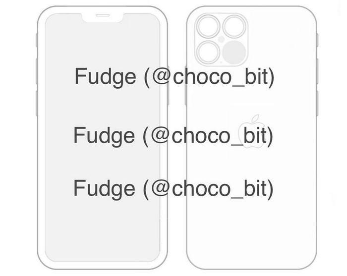 Hình ảnh rò rỉ từ iOS 14 nội bộ xác nhận iPhone 12 có tai thỏ nhỏ hơn và có 4 camera sau.(Ảnh: Fudge)