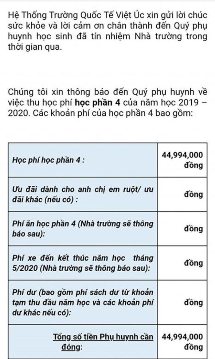 Bị phụ huynh phản ứng dữ dội, trường Quốc tế Việt Úc tạm ngừng thu phí ăn uống, đưa đón