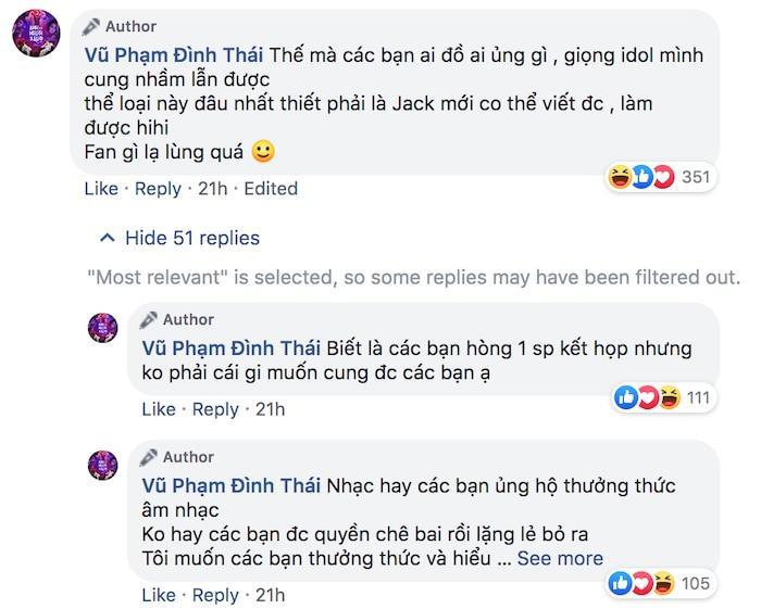 Bình luận gây tranh cãi của Thái Vũ.
