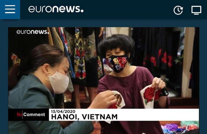 Sản phẩm của chị Hoa xuất hiện trên kênh Euro News. (Ảnh chụp màn hình)