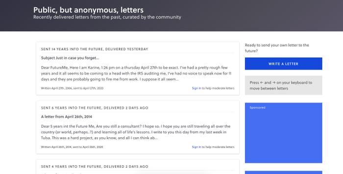 Những bức thư gửi đến tương lai của những người dùng ẩn danh.