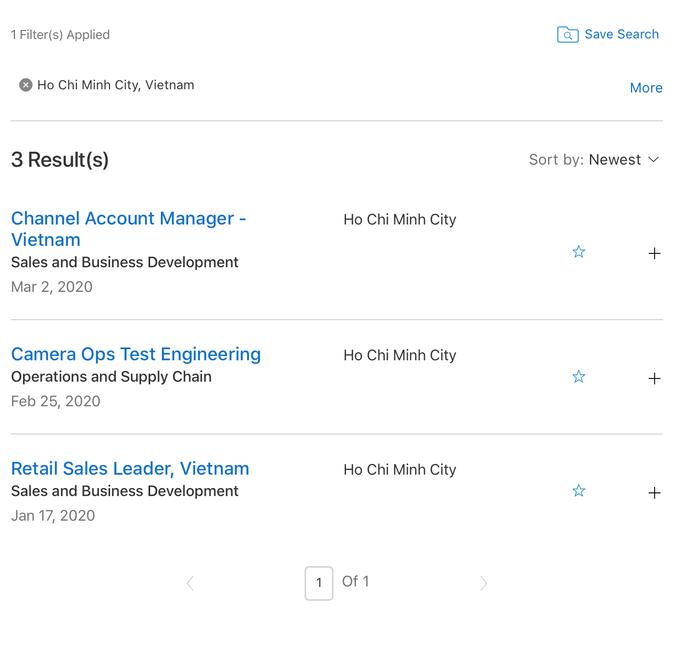 Các vị trí mà Apple đang tuyển dụng tại TP.HCM.