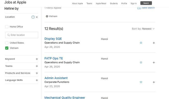 Các vị trí mà Apple đang tuyển dụng tại Hà Nội.