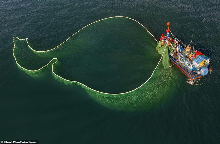 Nhiếp ảnh gia cho biết thêm, có vài ngày, ngư dân đánh cá ở vị trí chỉ cách bãi biển khoảng 1 km, ở độ sâu khoảng 10 mét. Những ngày khác, họ lái thuyền đi xa đất liền.