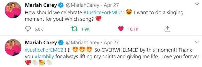 """Sau khi nhận được """"món quà"""" đầy ý nghĩa, Mariah đã nhanh chóng leo lên MXH và thể hiện tình yêu của mình đến các fan hâm mộ."""