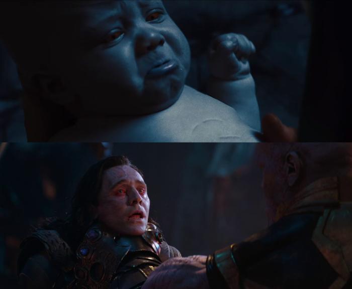 Loki nhiều lần để lộ nước da xanh.