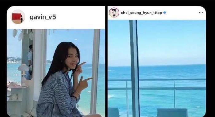 Chàng trai mặc chiếc áo trắng trong bức ảnh của Kim Ga Bin được cho là TOP.