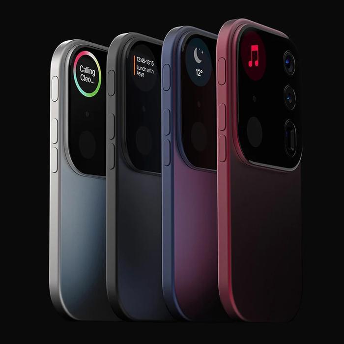 """Chiếc iPhone """"thiên biến vạn hoá"""" này đi kèm ba ống kính camera phía sau, kết hợp cảm biến ToF, micro và màn hình nhỏ để thông báo hoặc hiển thị cửa sổ xem trước, cũng như đồng hồ đếm ngược cho máy ảnh.(Ảnh: Louis Berger)"""