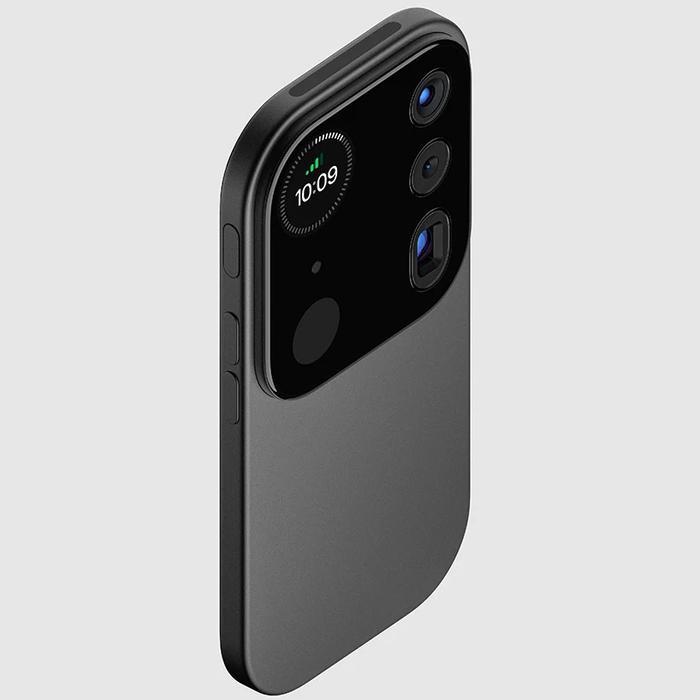 """Tuy rất được giới công nghệ trông đợi nhưng so với những đối thủ, iPhone 12 vẫn còn một chút gì đó lỗi thời. Đó cũng là lý do tại saoLouis Berge,nhà thiết kế yêu thích các sản phẩm cộp-mác """"nhà Táo"""", đã tạo nên một bản dựng iPhone """"thiên biến vạn hoá"""" cực kỳ ảo diệu mà Apple có thể mang lên thế hệ iPhone tương lai của mình.(Ảnh: Louis Berger)"""