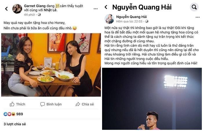 """Bạn thân Nhật Lê được cho là """"cà khịa"""" Quang Hải sau khi anh thể hiện tình cảm với bạn gái mới."""
