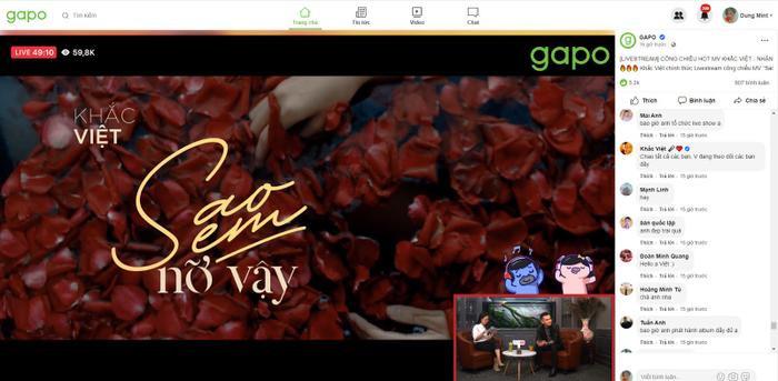 Thành công rực rỡ khi chọn Gapo để Live stream công chiếu MV mới, Khắc Việt thu hút 60.000 người xem cùng lúc ảnh 1