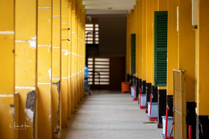 Những khu giảng đường với màu vàng đặc trưng.