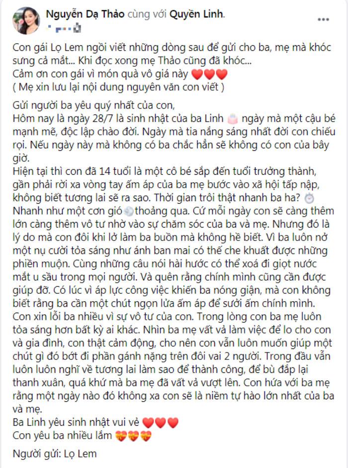 Con gái Lọ Lem nhà Quyền Linh khóc sưng mắt khi viết thư gửi ba nhân ngày sinh nhật Ảnh 3