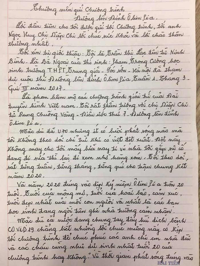 Xúc động bức thư tay của cụ bà là 'fan cứng' của Đường lên đỉnh Olympia Ảnh 2
