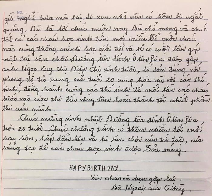 Xúc động bức thư tay của cụ bà là 'fan cứng' của Đường lên đỉnh Olympia Ảnh 3
