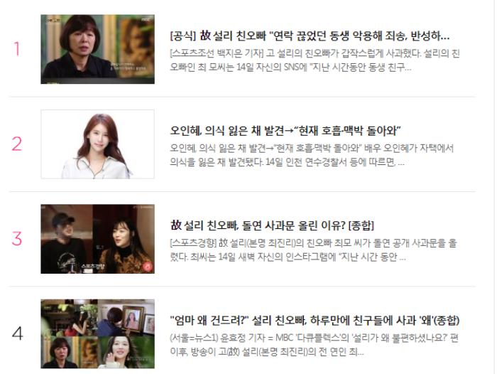 Diễn viên Oh In Hye tự tử tại nhà riêng, lập tức đứng Top 2 Naver chỉ sau Sulli Ảnh 4