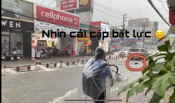 Bất chấp dòng nước chảy xiết trong cơn mưa lớn để đạp xe về nhà, nhóm học sinh ngã nhào xuống đường khiến nhiều người thót tim Ảnh 5