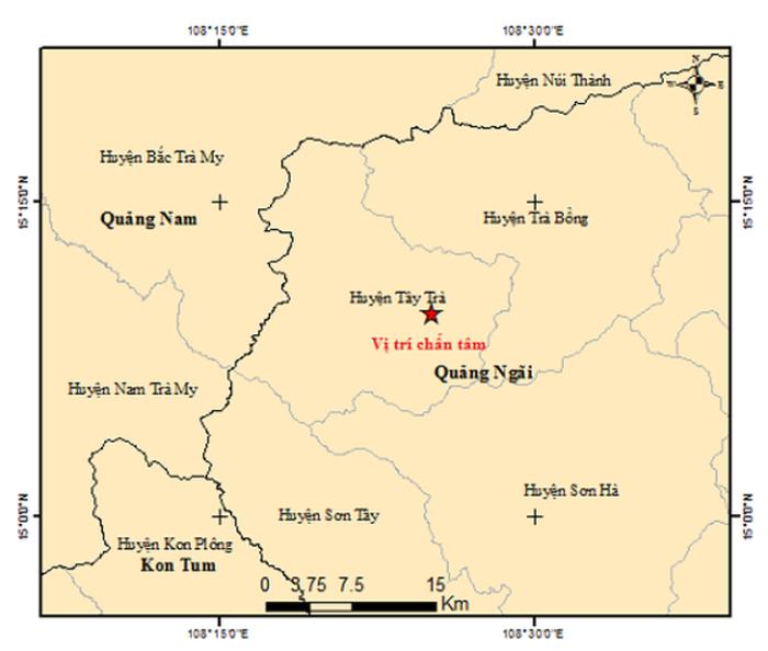 4 trận động đất xảy ra trong 5 tiếng đồng hồ ở Quảng Ngãi Ảnh 1