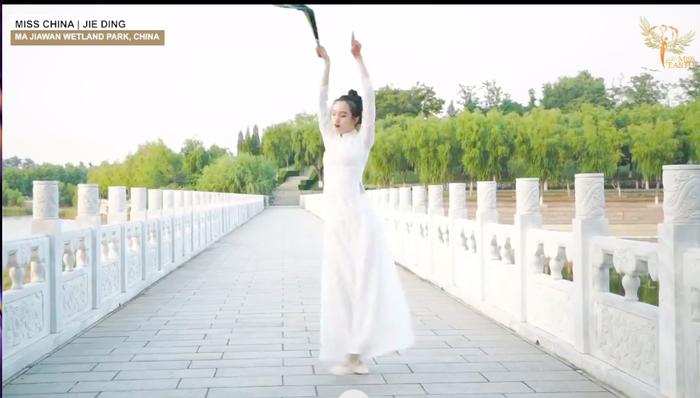 Thí sinh Trung Quốc gây phẫn nộ khi ngang nhiên mặc áo dài trình diễn trong phần thi tài năng Miss Earth 2020 Ảnh 4