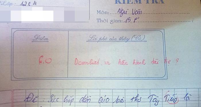 Phát hiện văn mẫu trong bài kiểm tra, giáo viên có lời phê cực 'gắt' khiến học trò chỉ biết câm lặng Ảnh 1