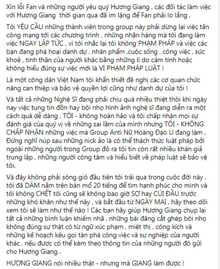 Hương Giang lên tiếng về Group 110 nghìn anti-fan: Tôi không đạo lý - tẩy trắng, nhờ pháp luật can thiệp Ảnh 7