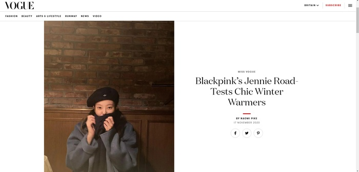 Tạp chí Vogue Anh ca tụng thời trang mùa đông của Jennie Black Pink ứng dụng cao Ảnh 1