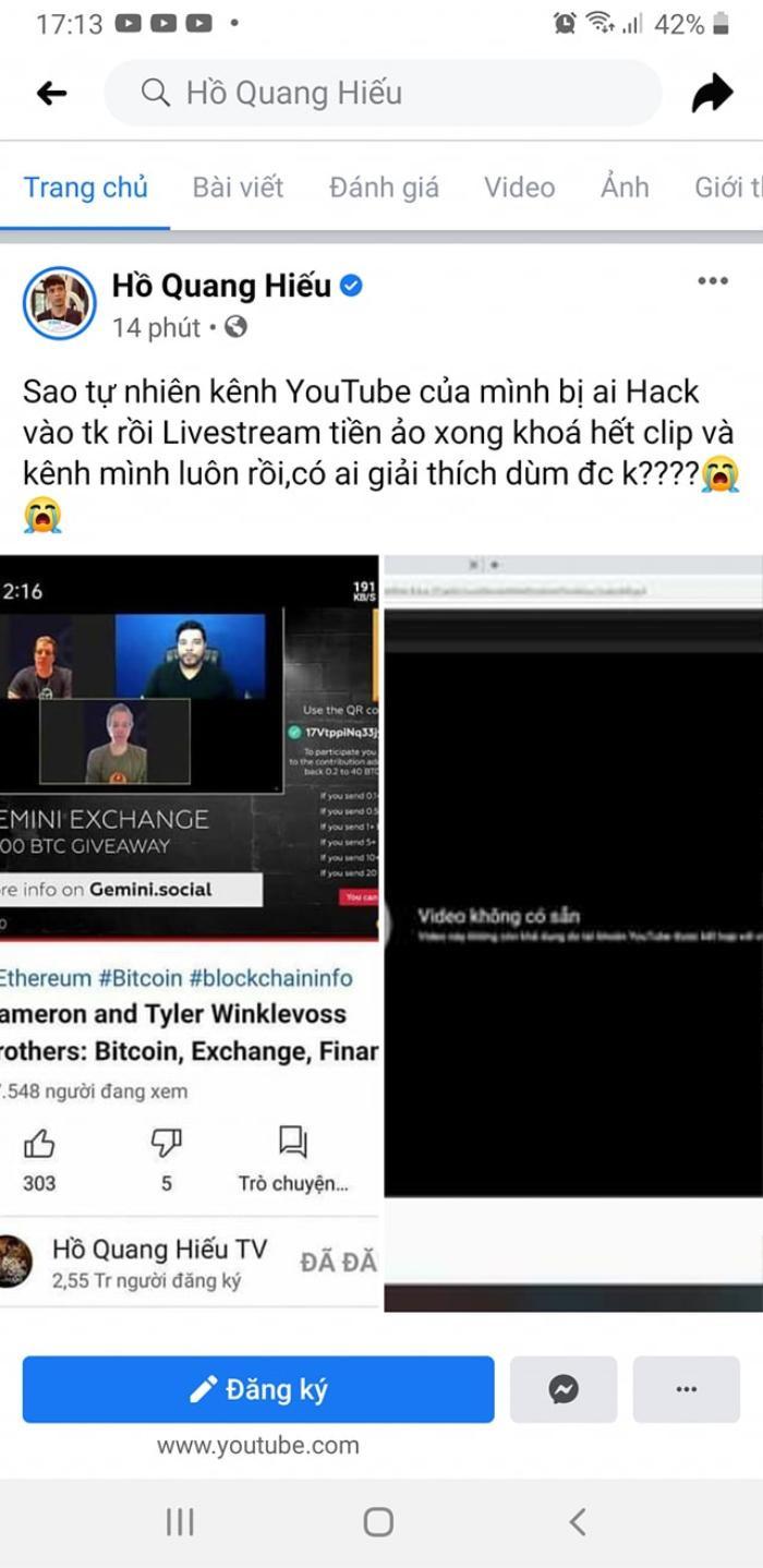 Hàng loạt kênh YouTube của nghệ sĩ Việt Nam bị hack: Nạn nhân có cả Lý Hải, Hồ Quang Hiếu Ảnh 1