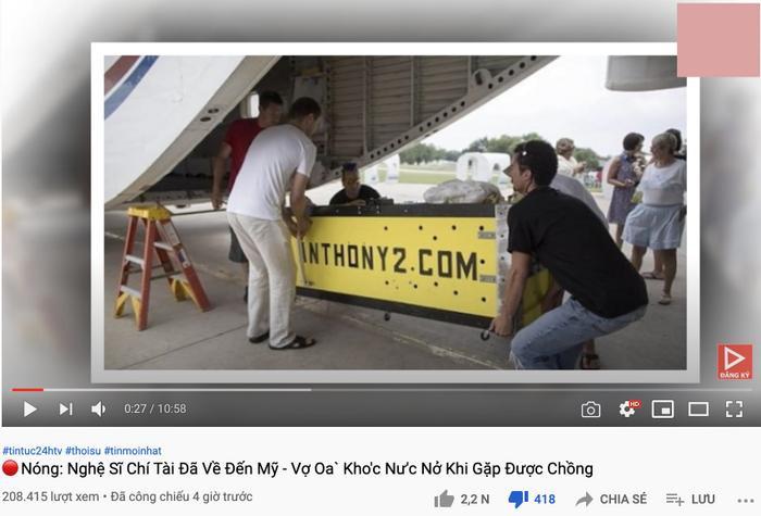 Kênh YouTube đưa tin sai lệch 'linh cữu cố nghệ sĩ Chí Tài đã về đến Mỹ, vợ oà khóc nức nở khi gặp chồng' Ảnh 4