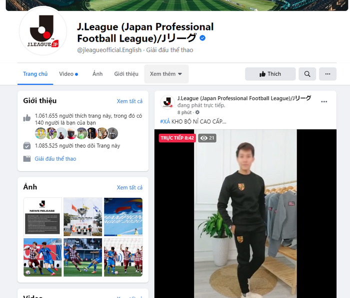 Fanpage giải bóng đá Nhật Bản bị hack để livestream video bán hàng của người Việt Ảnh 1