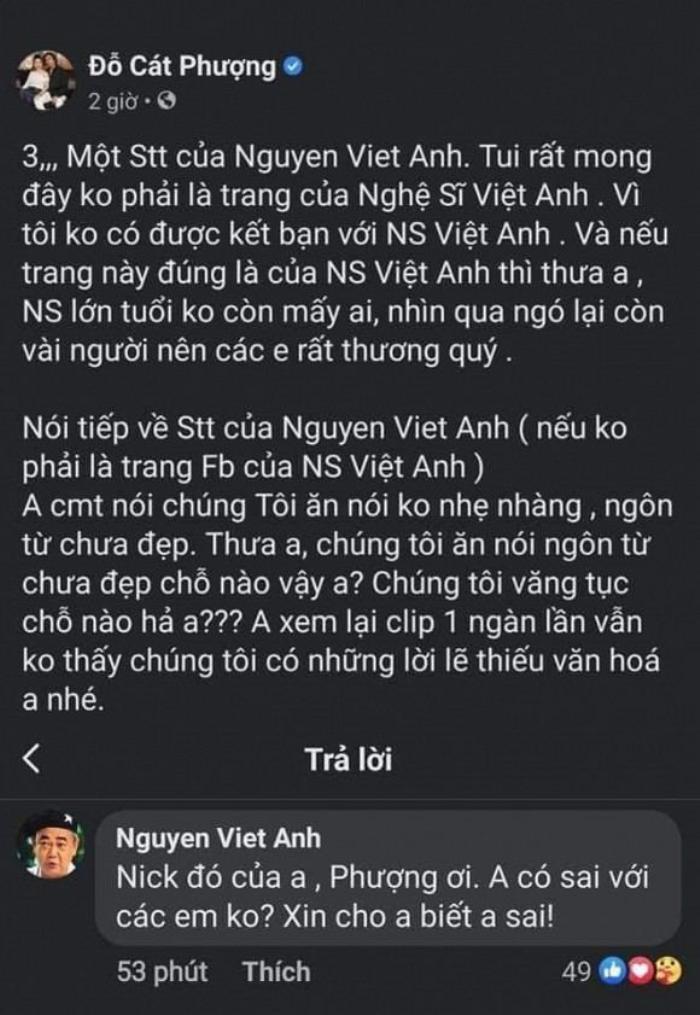 Cát Phượng lên tiếng xin lỗi nghệ sĩ Việt Anh sau phát ngôn thiếu tôn trọng tiền bối Ảnh 2
