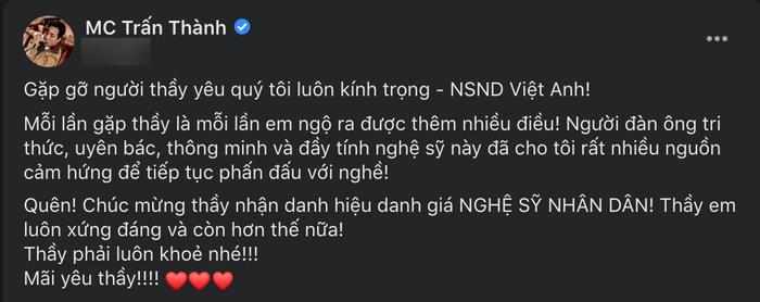 Sau ồn ào với Cát Phượng, NSND Việt Anh hội ngộ Trấn Thành - Trịnh Thăng Bình: Đàn em hết mực nể trọng! Ảnh 2