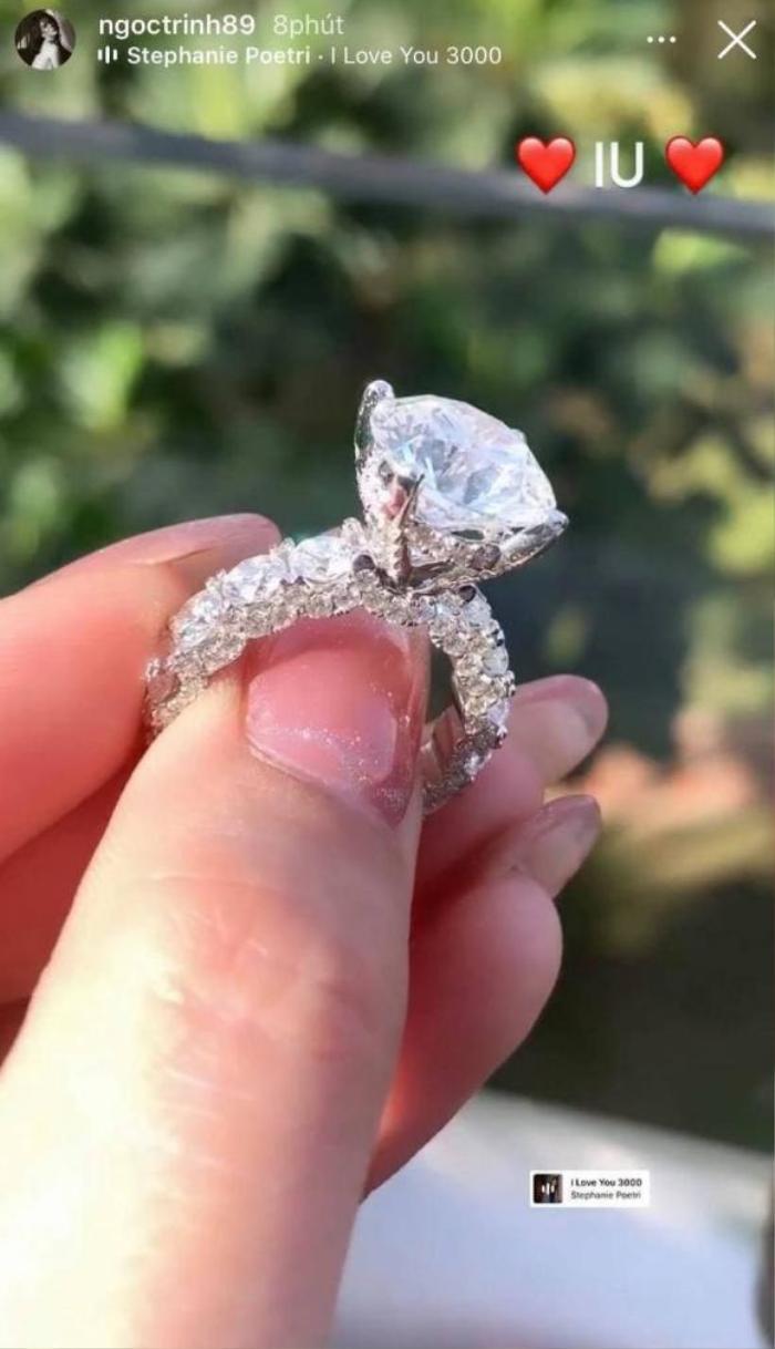 Ngọc Trinh khoe nhẫn kim cương khổng lồ được người yêu tặng, fan mới sáng đã ăn bánh gato Ảnh 2