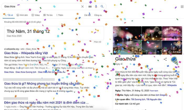 Google mừng Giao Thừa 2021 trên trang chủ với hiệu ứng thổi kèn, tung pháo giấy Ảnh 2