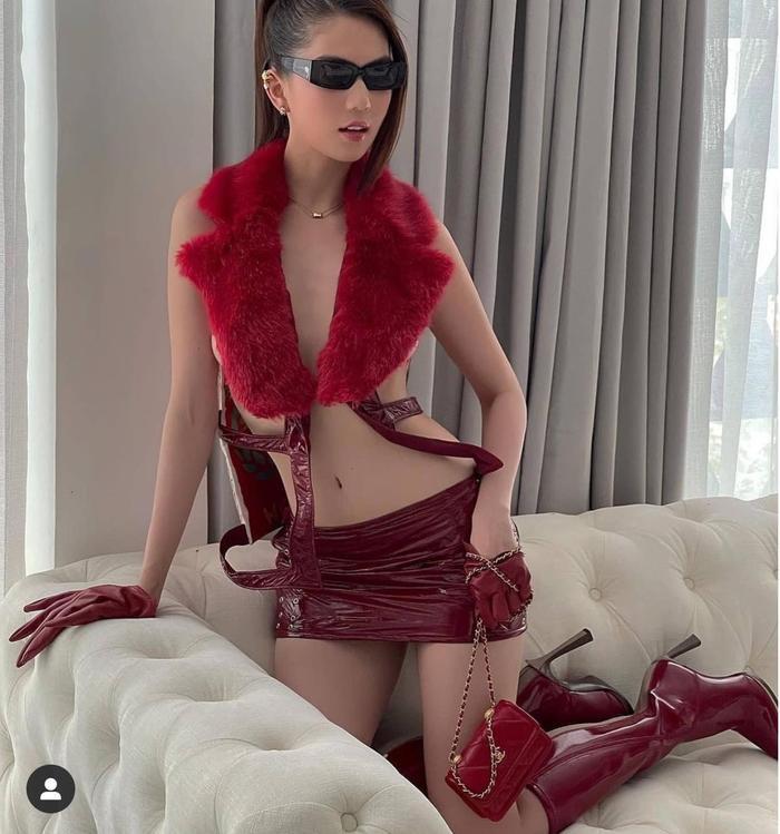 Mới đầu năm, Ngọc Trinh đã táo bạo che vòng 1 hờ hững với gam đỏ burgundy Ảnh 3