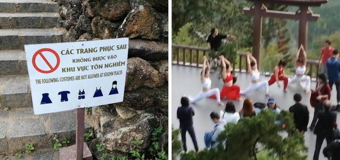 Nhóm phụ nữ bị chỉ trích khi mặc áo hở bụng, khoét nách xuất hiện tại chùa Linh Quy Pháp Ấn Ảnh 4