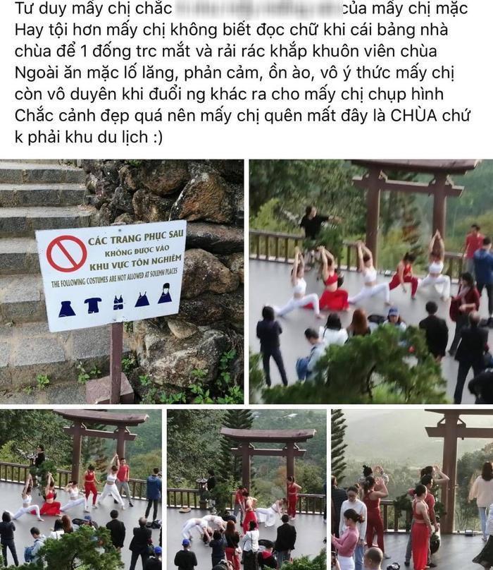 Nhóm phụ nữ bị chỉ trích khi mặc áo hở bụng, khoét nách xuất hiện tại chùa Linh Quy Pháp Ấn Ảnh 1