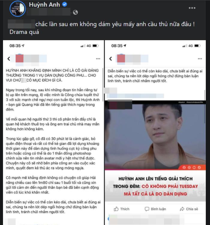 Huỳnh Anh tỏ thái độ khi bị 'khịa' chuyện cũ với Quang Hải: Đăng hình tình cũ kèm caption 'cực gắt'