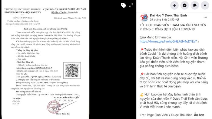 Trường ĐH Y Dược Thái Bình kêu gọi sinh viên tình nguyện chung tay chống dịch Ảnh 1