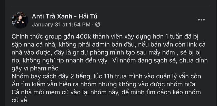 Group anti-fan Hải Tú 400K thành viên 'bay màu', loạt nhóm phụ mọc lên 'như nấm sau mưa' Ảnh 3